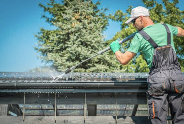 Pressure Washing Roofs and Gutters